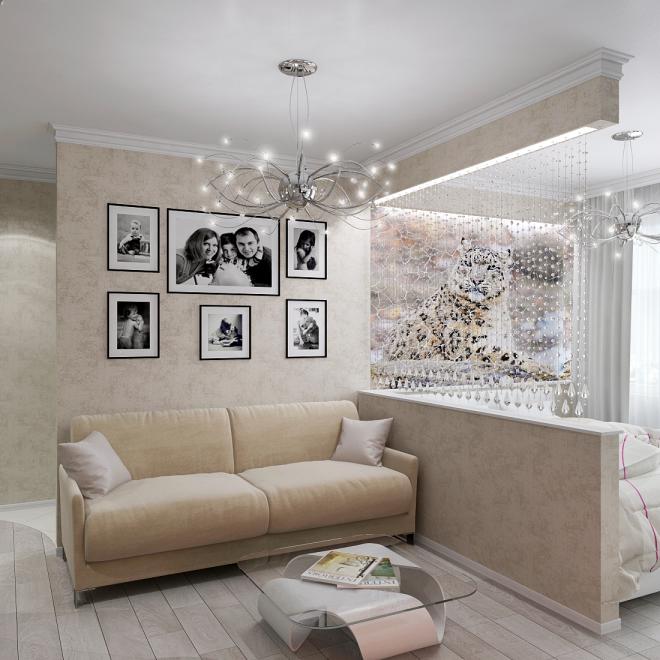 Разделение пространства с помощью декоративной шторы