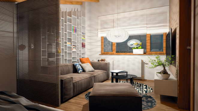 Разделение комнаты декоративной перегородкой на спальню и гостиную