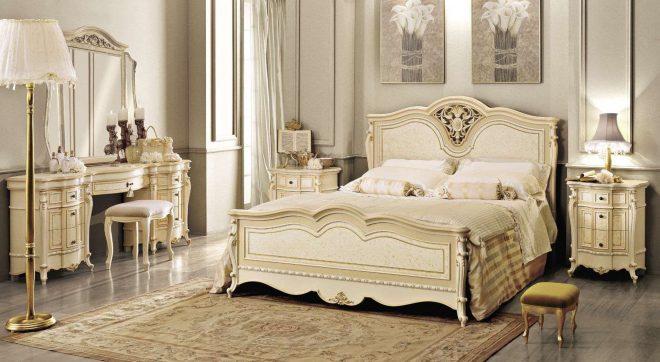 Стильная мебель в классической спальне