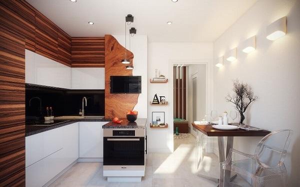 Угловая кухня с мойкой в углу в бело-коричневом цвете