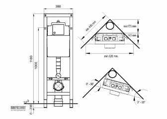 Схема инсталляции углового унитаза