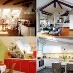 Классический дизайн кухни в мансарде