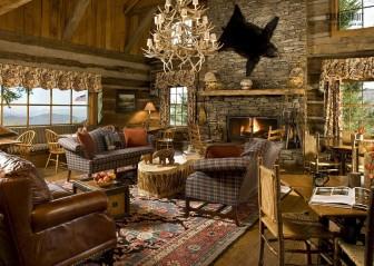 Дома из бруса: интерьер в стиле охотничьего домика