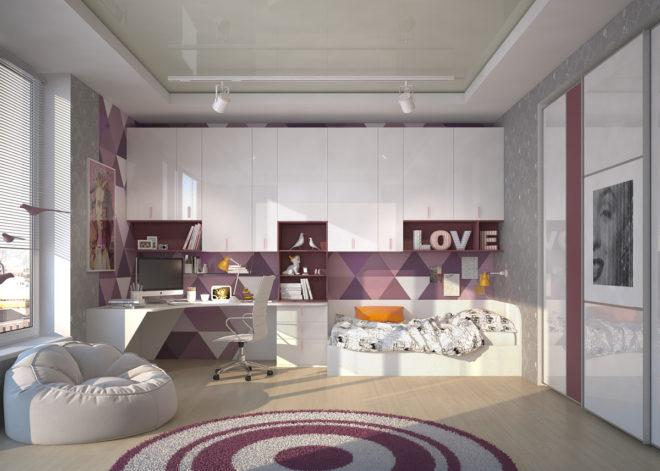 Фиолетовый цвет мебели в интерьере