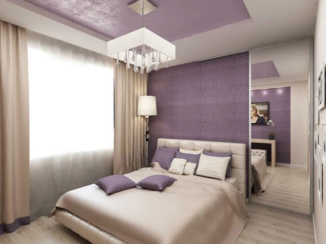Бежевый и лаванда в спальне
