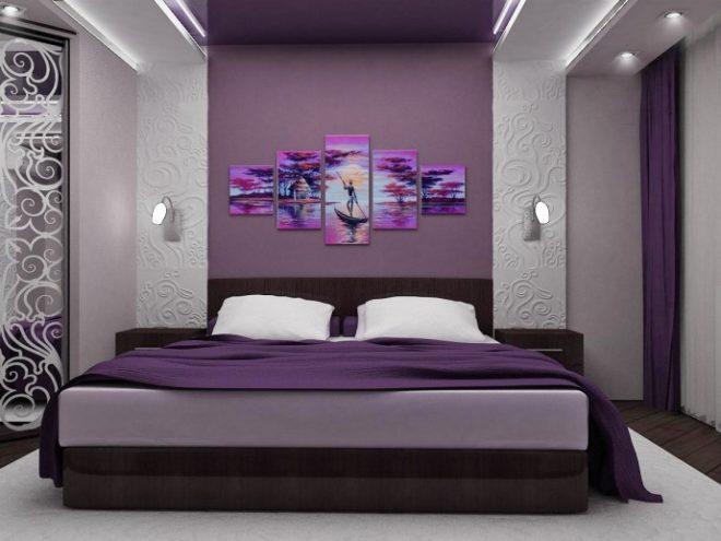 Декор фиолетовой спальни