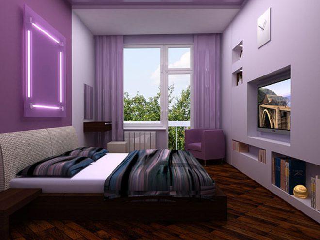 Фиолетовый спальня хай-тек