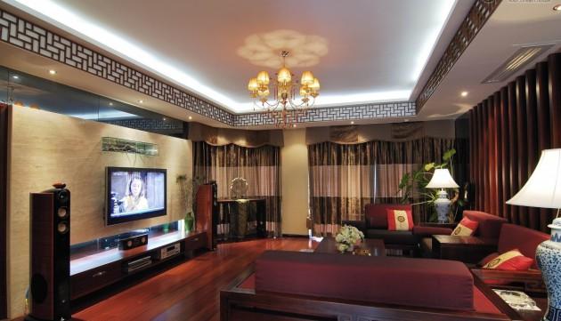 Необычное сочетание цветов в гостиной модерн