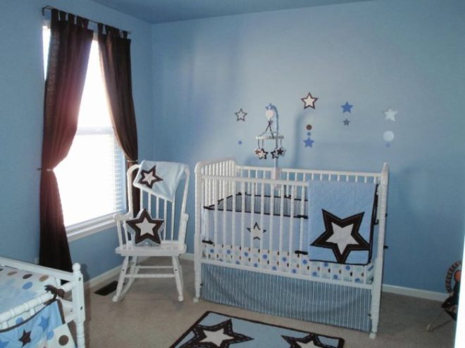 Звёздный мотив в офомлении комнаты новорождённого