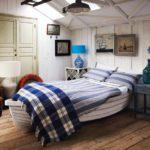 Морской стиль в интерьере креативной спальни