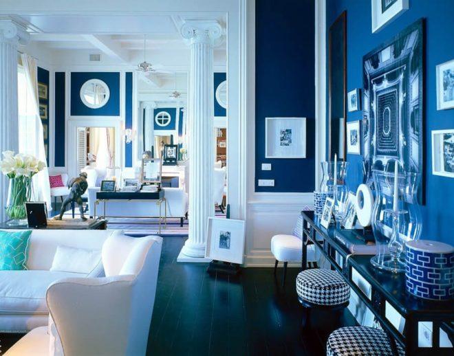 Интерьер большой квартиры-студии в морском стиле