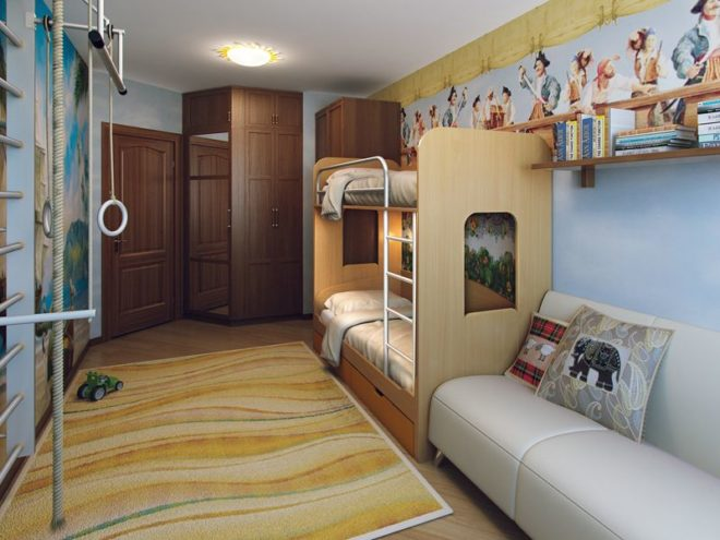 Голубая комната для двух детей