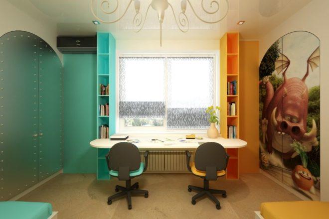 Двухцветная комната для мальчиков