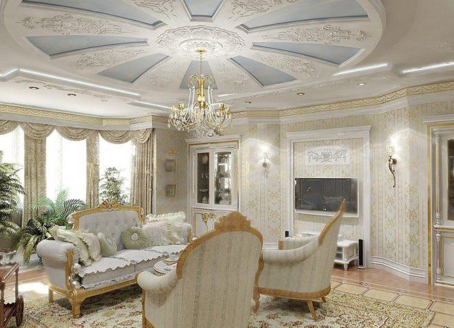 Бело-золотое оформление интерьера
