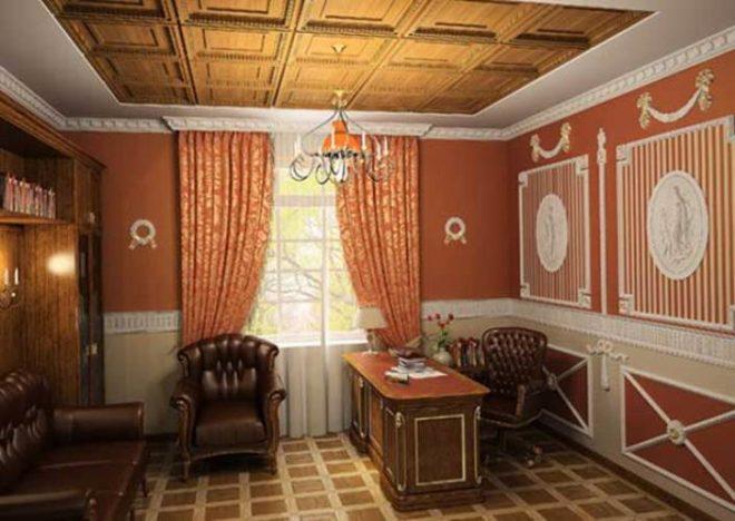 Дубовые панели на потолке сталинской квартиры