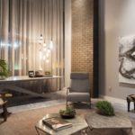 Лаконичная гостиная в стиле лофт