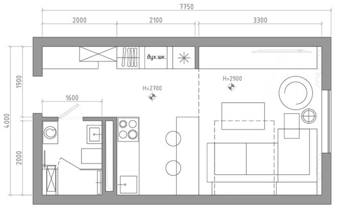 План узкой квартиры-студии