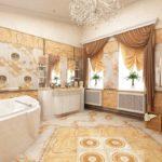Вариант применения стиля ампир в ванной комнате