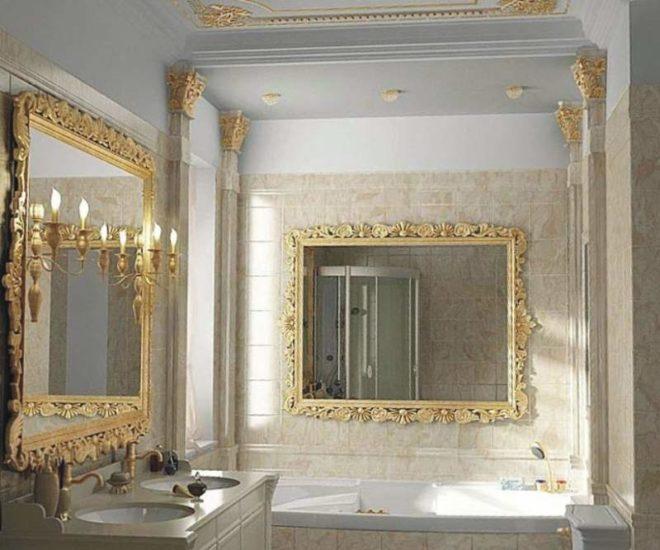 Зеркала в ванной комнате в стиле ампир