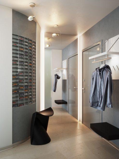 Интерьер маленького коридора в стиле хай-тек