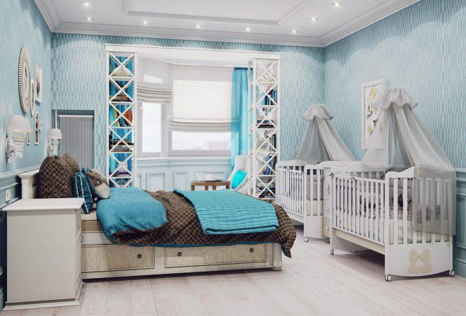 Классическая спальня для родителей и двоих малышей