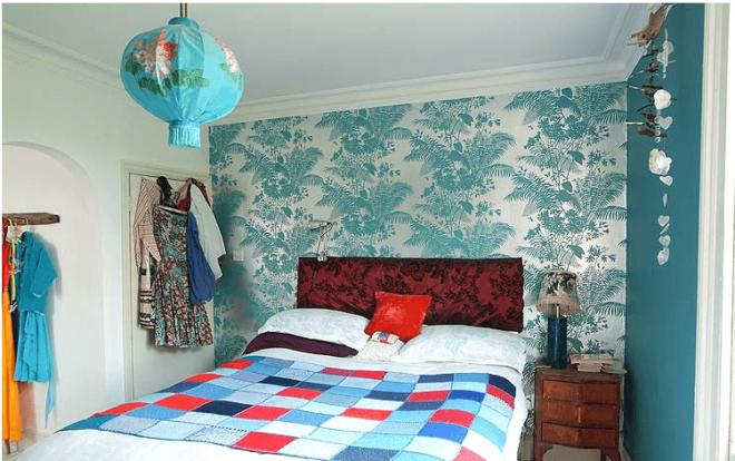 Бирюзовая спальня в стиле «эклектика»