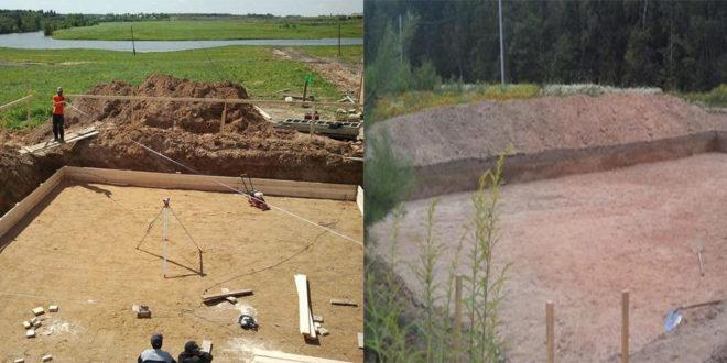 Процесс подготовки площадки для заливки бетона