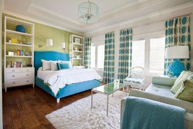 Скандинавская спальня бирюзовая