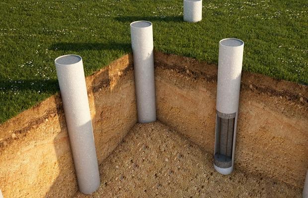 Фундамент из асбоцементных труб (схема)