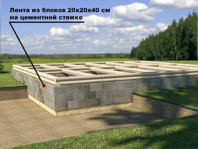 Фундамент из блоков на стяжке