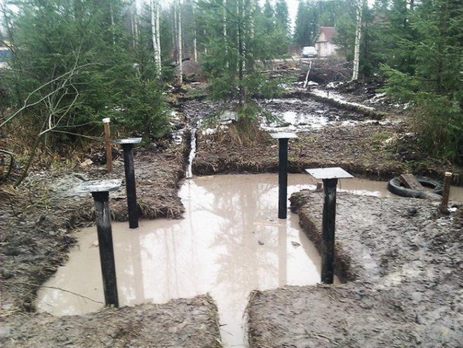 Лёгкий фундамент на болоте