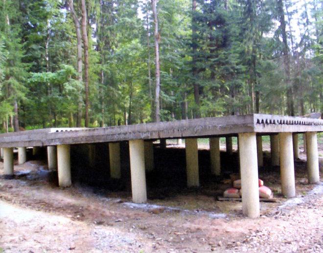 Ростверк на бетонных сваях