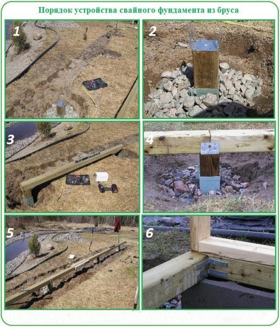 Строительство свайного фундамента из бруса
