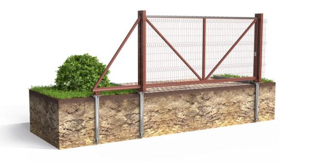 Свайный фундамент для откатных ворот