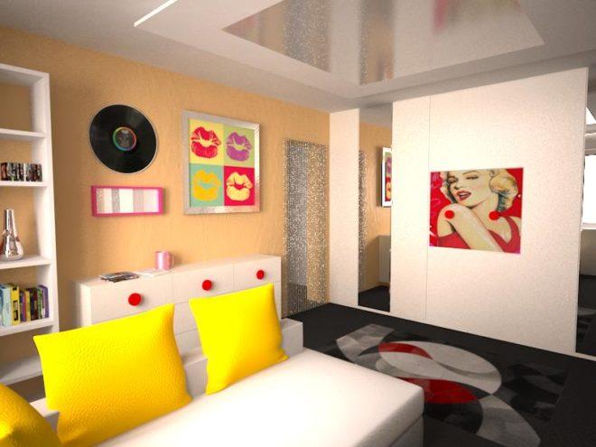 Стиль поп-арт в интерьере комнаты для девочки