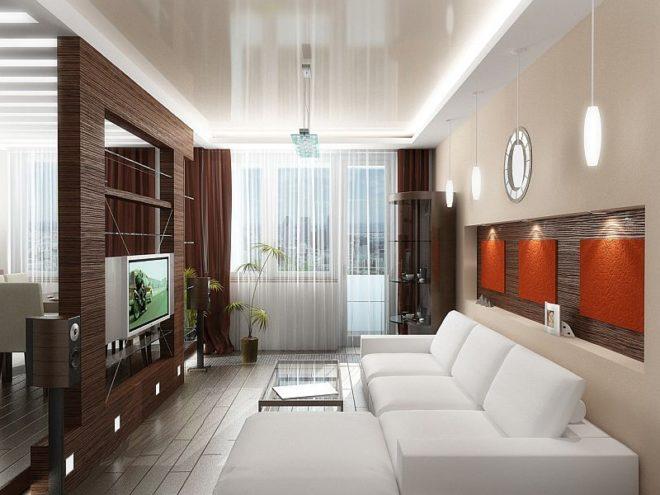 Гостиная с глянцевым натяжным потолком и декоративной перегородкой