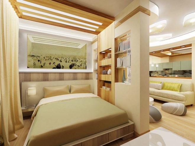 Гостиная, совмещённая со спальней с разными видами светильников