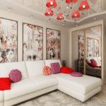 Гостиная с модульной картиной в японском стиле