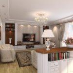 Классическая люстра и точечные светильники в интерьере гостиной