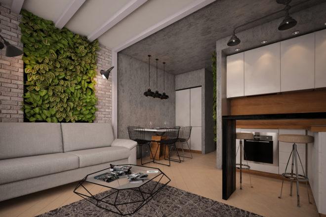Гостиная с отделкой стен декоративным кирпичом и штукатуркой