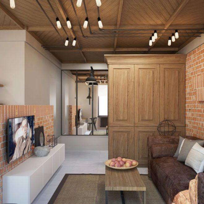 Гостиная с деревянным потолком в стиле лофт