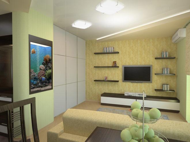 Белая гостиная с отделкой жёлтого и бежевого оттенка