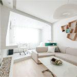 Глянцевый шкаф в гостиной в стиле минимализм
