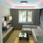 Угловой диван в гостиной в стиле минимализм