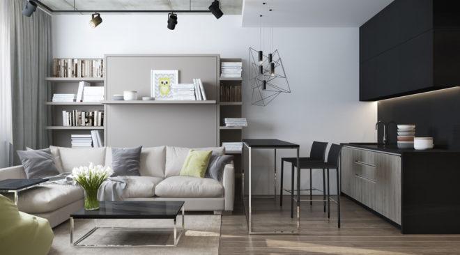 Гостиная с угловым диваном в серых тонах