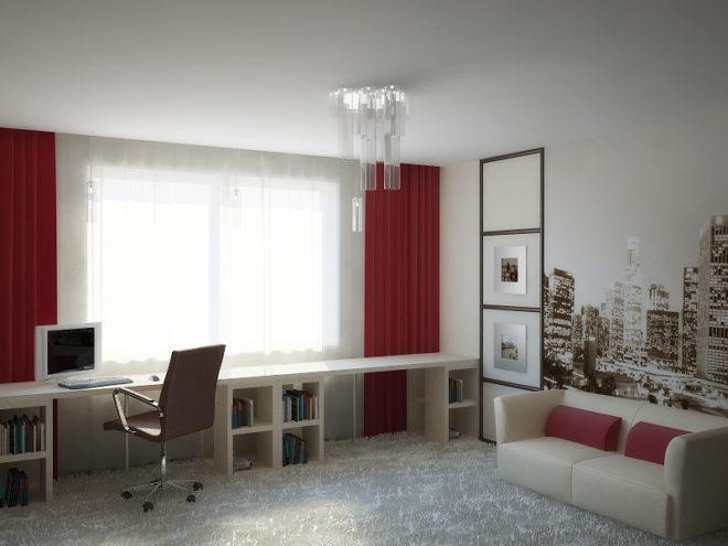 Комната с интерьером в светлом цвете