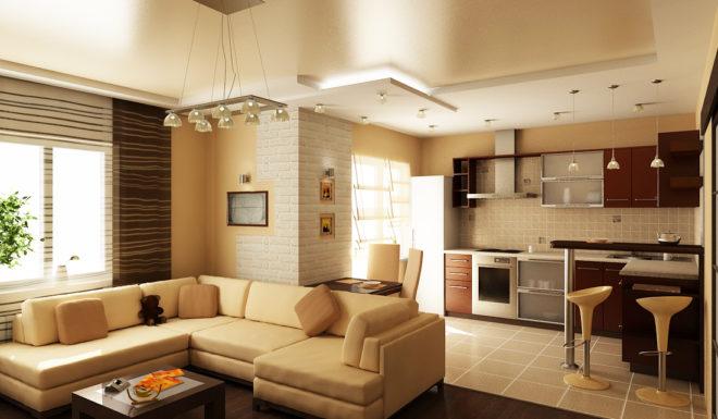 Кухня-гостиная с барной стойкой на стыке зон