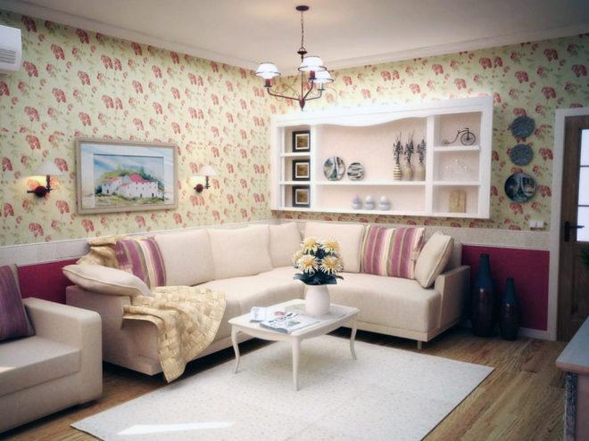 Маленькая гостиная в стиле прованс с открытым шкафчиком для посуды
