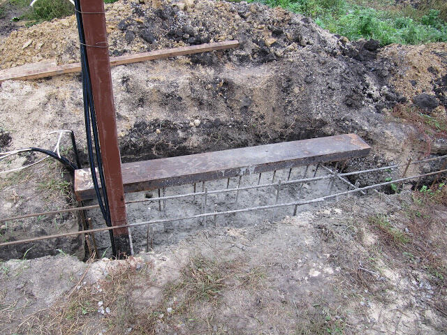 Этапы заливки бетона для фундамента откатных ворот