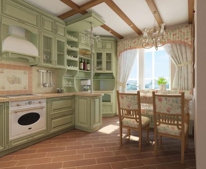 Цветочный принт на кухне в стиле прованс
